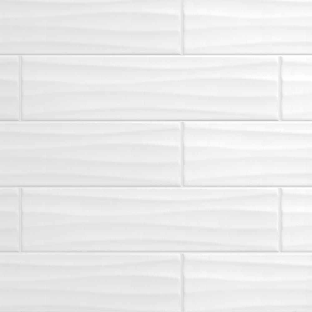 Daltile Restore Bright White 4 In X 16 In Ceramic Wavy