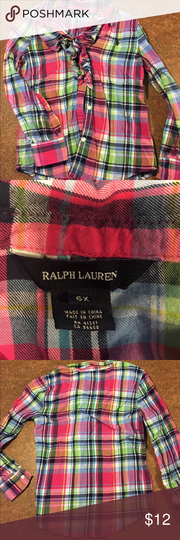 Girls plaid Ralph Lauren button up size  6x Like new plaid button up with accent ruffles on front. Smoke free/pet free home. Size 6x. Ralph Lauren Shirts & Tops Button Down Shirts