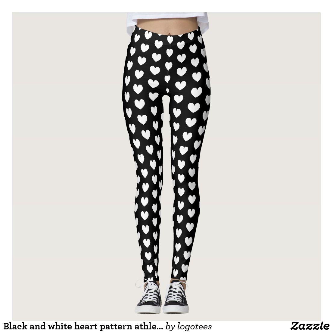 c73746d5da231 Black and white heart pattern athleisure leggings | Zazzle.com in ...