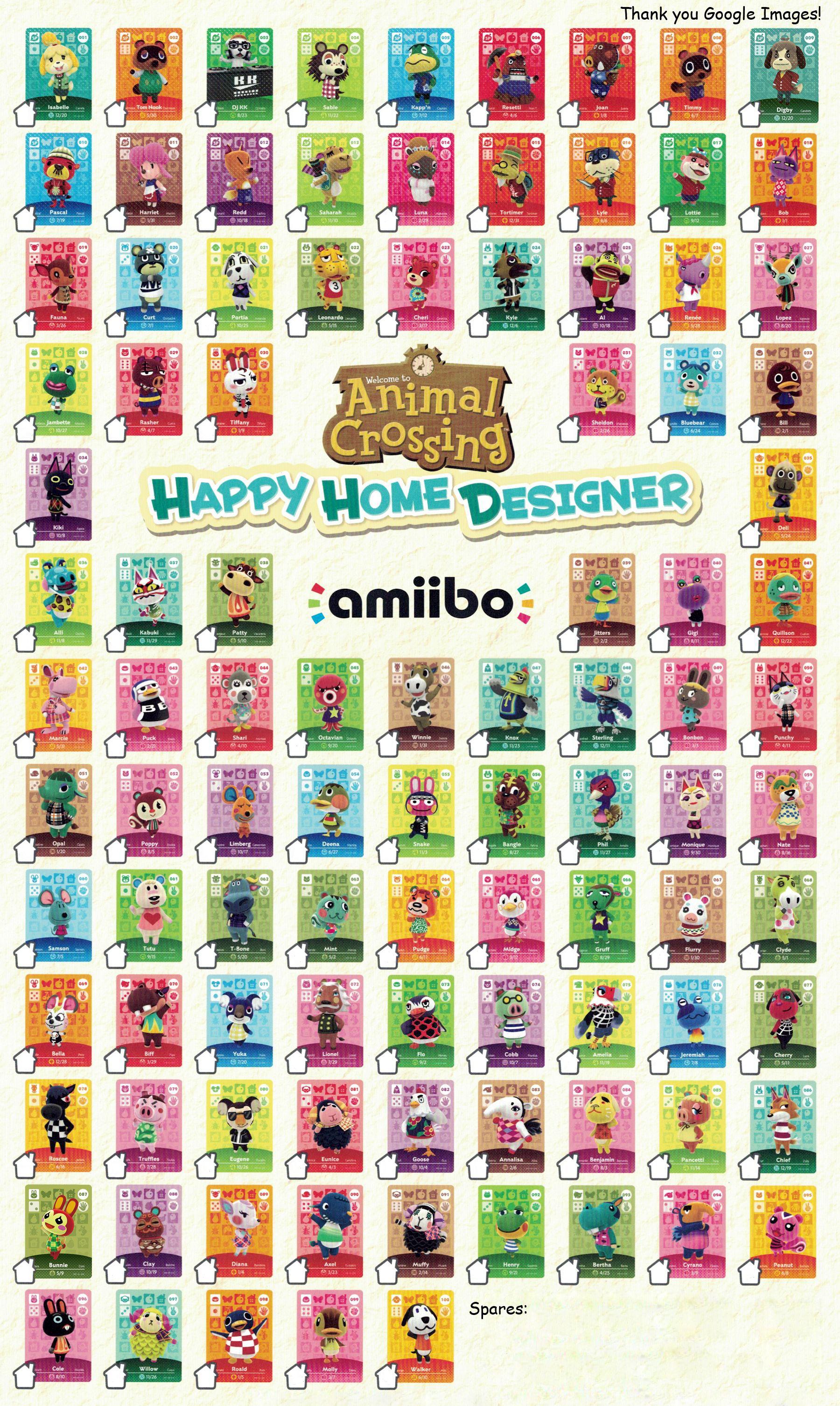 Animal Crossing Happy Home Desginer Amiibo Cards Series 1