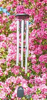 #Pachelbel Canon Chime.  Recalling the soft, repeating melody of Johann Pachelbel's celebrated Canon, this chime is the perfect gift for virtually any occasion. A unique design uses two sets of tubes; larger silver tubes offer the lower tones and the small black rods present a soprano counternote. Boxed for gift-giving. #windchime #windchimes