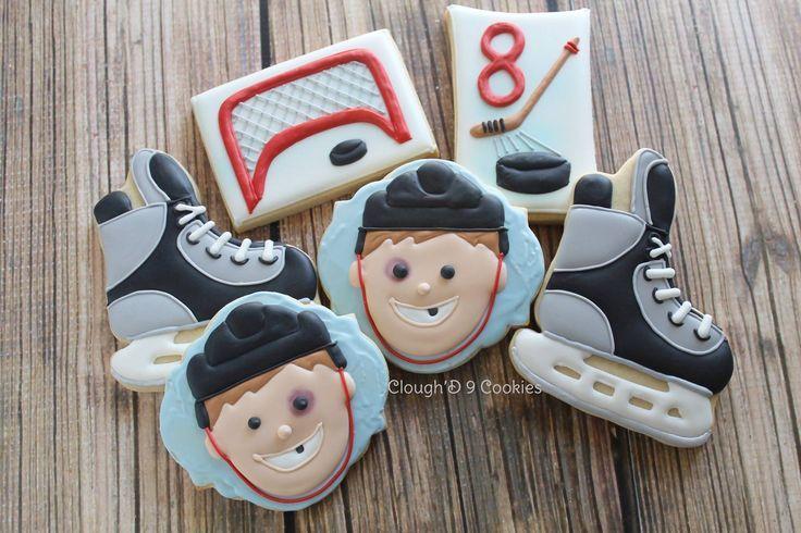 Hockey Cookies Decorated Cookies Pinterest Hockey Photos Hockey Cakes Royal Iced Cookies Hockey Birthday