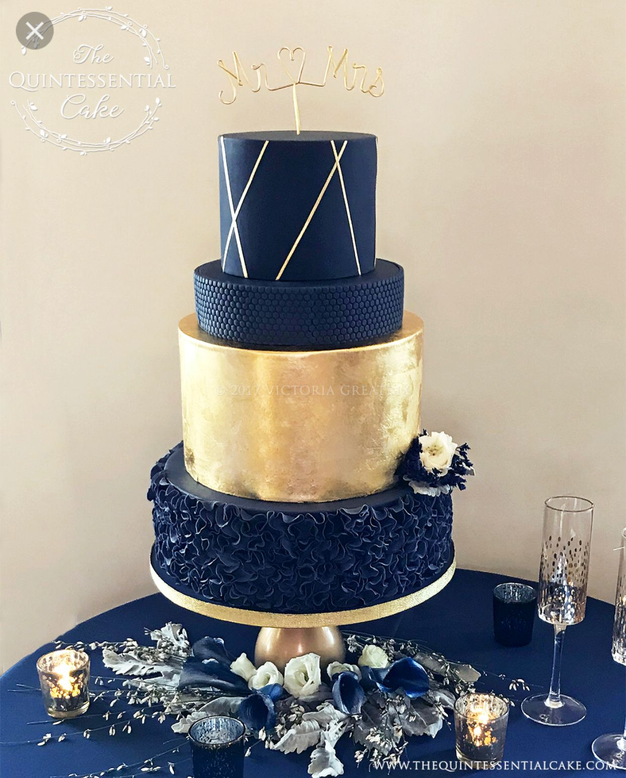 Gold And Navy Wedding Cake With Images Wedding Cake Navy