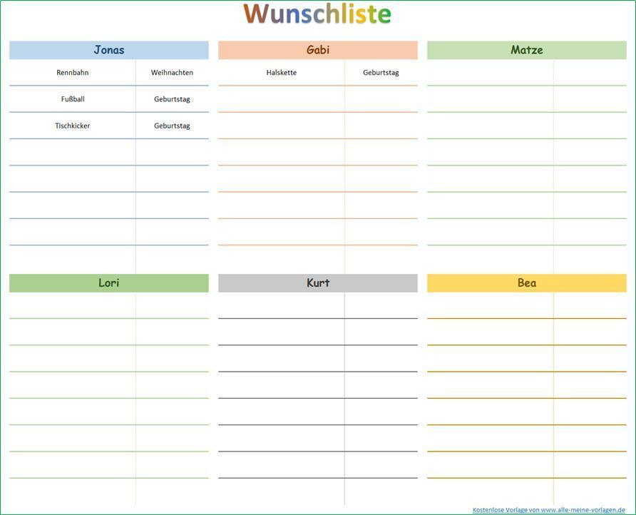 Wunsche Erfullen Mit Hilfe Einer Wunschliste Wunschliste Wunsche Erfullen Excel Vorlage