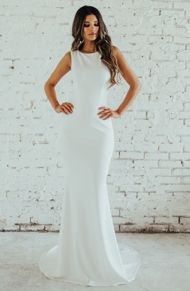 Free shipping and returns on Noel and Jean by Katie May Theo Low Back Crepe  Mermaid Gown (Nordstrom Exclusive) at Nordstrom.com. 170a6321f6a0