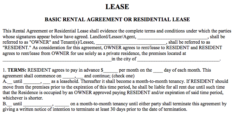 Basic Rental Agreement Word Document Template Words