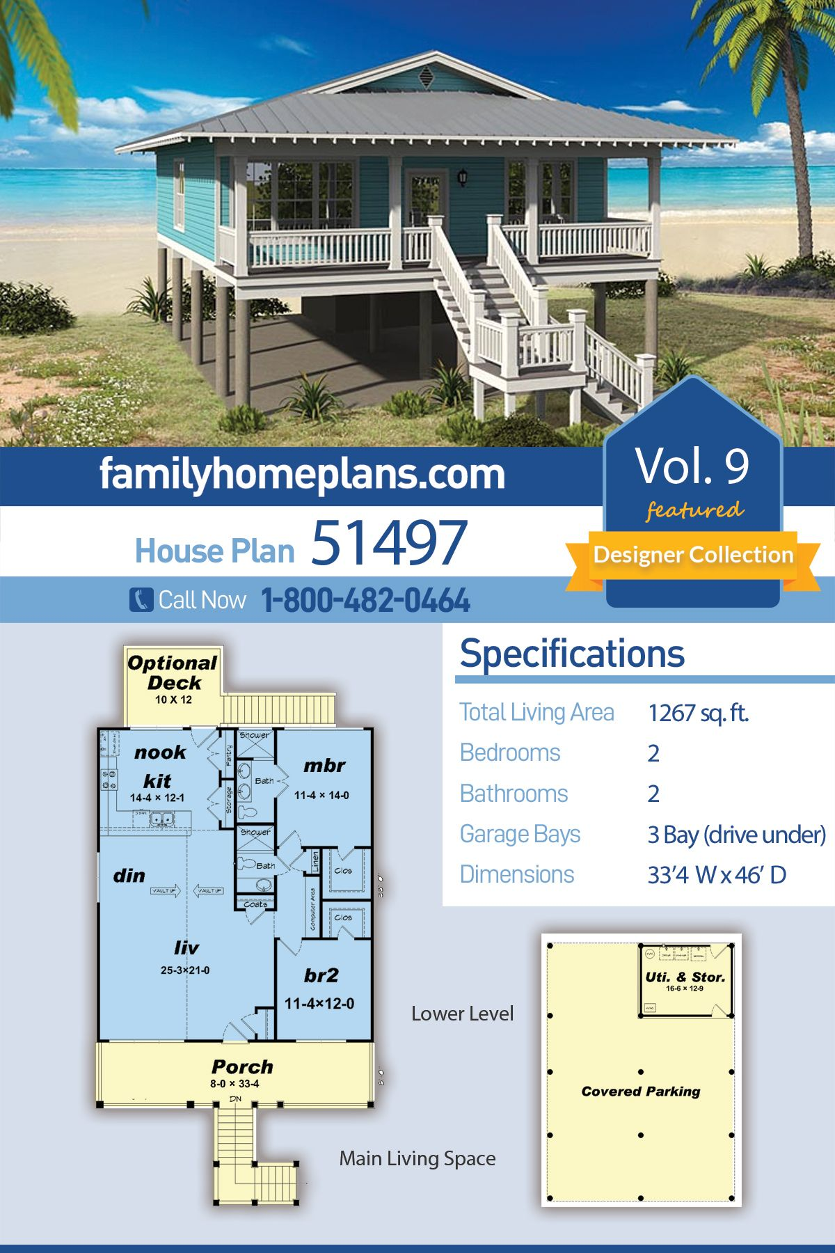 Southern Style House Plan 51497 With 2 Bed 2 Bath 3 Car Garage Beach House Floor Plans Family House Plans Beach House Plans