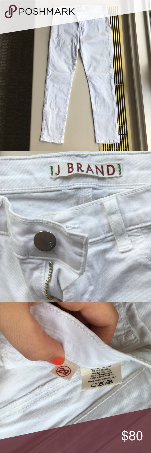 Like new J. Brand white skinny jeans Really gorgeous, like new, J.Brand white skinny jeans. Dry cleaned and ready for new home. One tiny spot of discoloration (see last photo) underneath back pocket that is very unnoticeable (reflected in price). Price flexible make me an offer 🔥 J Brand Pants Skinny
