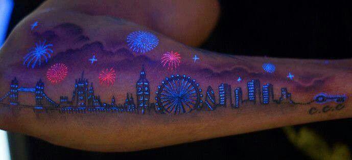 Fireworks glowing night skyline tattoo | Uv tattoo ...
