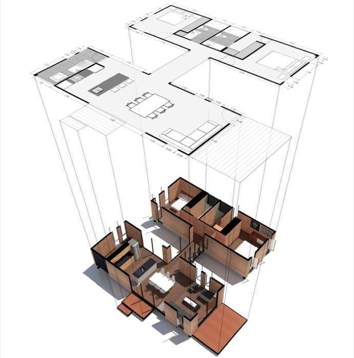 Casa prefabricada vimob modelo l eco arq casas for Arquitectura prefabricada