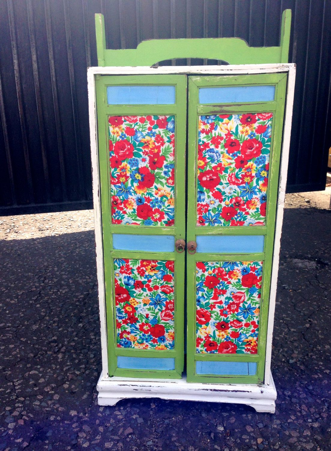 Decoupage Vintage Liberty Fabric Cupboard in Blue Red by urbanrook