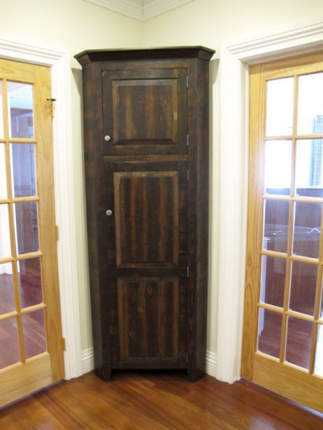 Barnwood Furniture Made To Store Customer S Vacuum I Could Use This For My Vacuum Mop Broom Corner Storage Cabinet Barnwood Furniture Tall Corner Cabinet