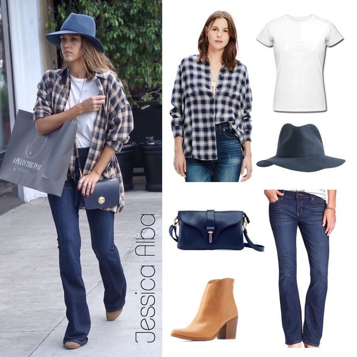 Trendy in Tartan: Jessica Alba's Oversized Shirt and Boot-Cut ...