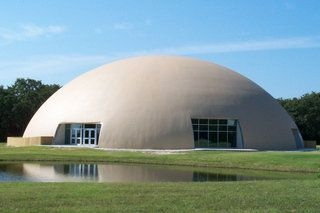 Image: Thousand Oaks Ranch — It's a Monolithic Dome retreat center with a semi-elliptical shape, a 143-foot diameter and a 45-foot height in Barry, Texas.