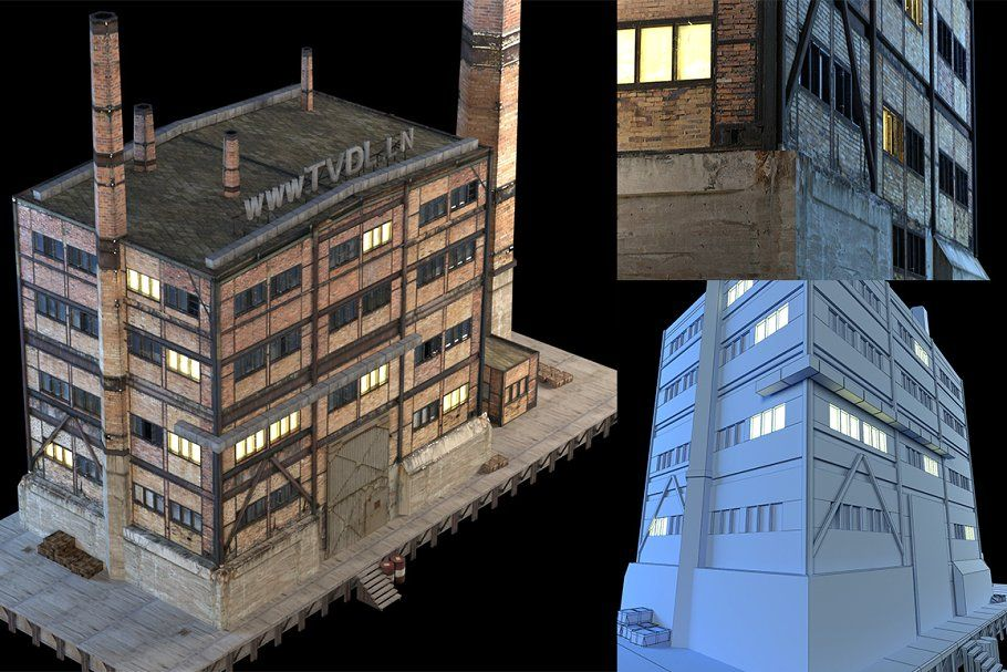 RIGED Search Light 3d model in 2020 Abandoned factory