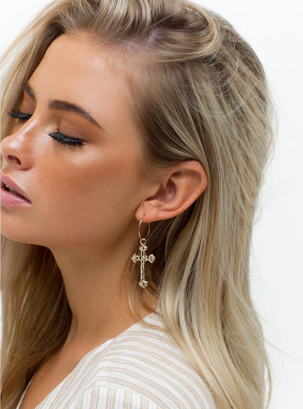 Del Ray Cross Earrings Gold One Size / Gold Cross