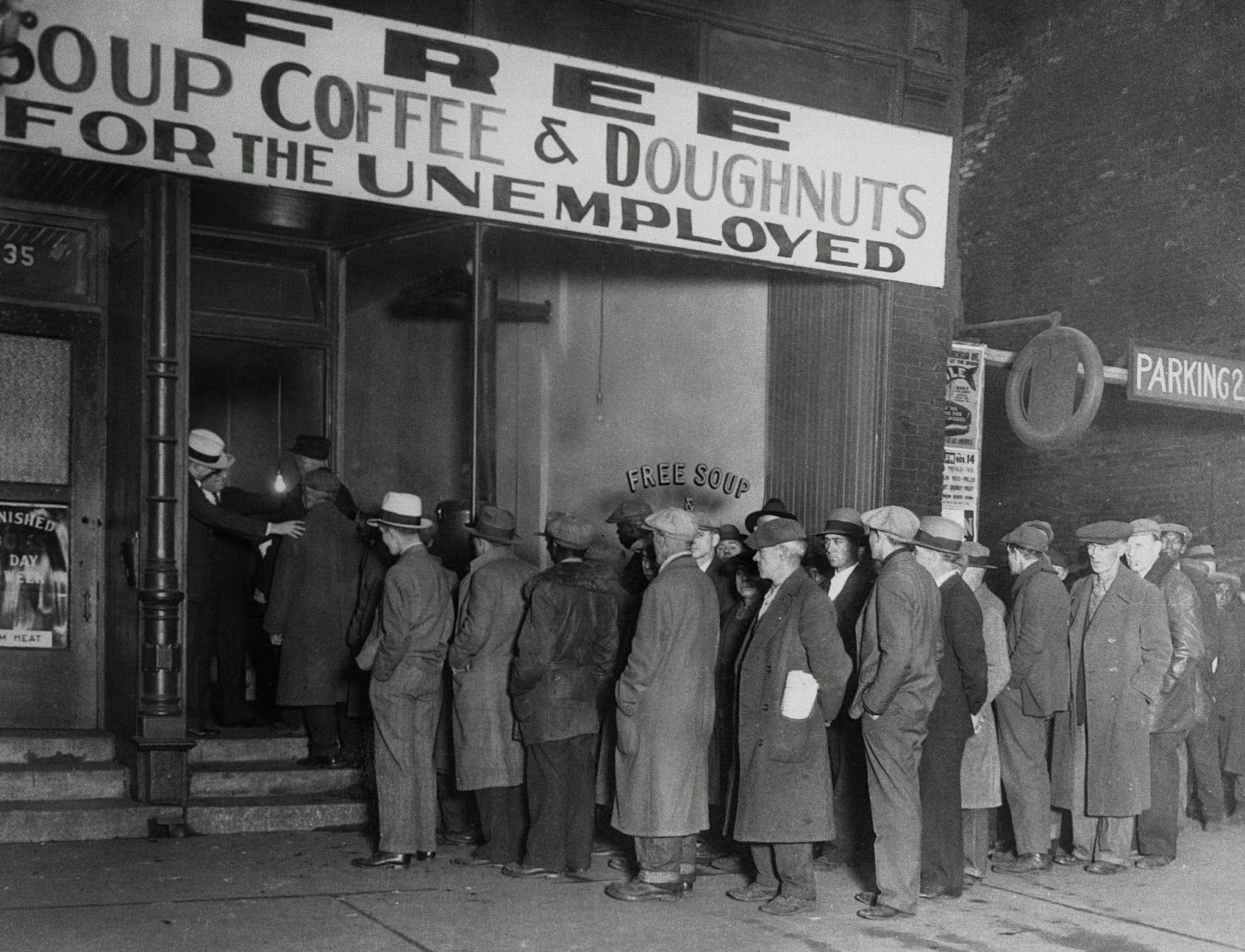 superb Facts About Soup Kitchens During The Great Depression Part - 7: Men in line at Al Caponeu0027s soup kitchen, Chicago 1930 [1600x1224]