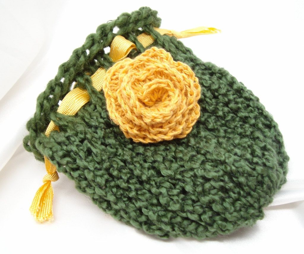 Forest Green Loom Knit Bag with Vintage Ribbon and Crocheted Flower ...