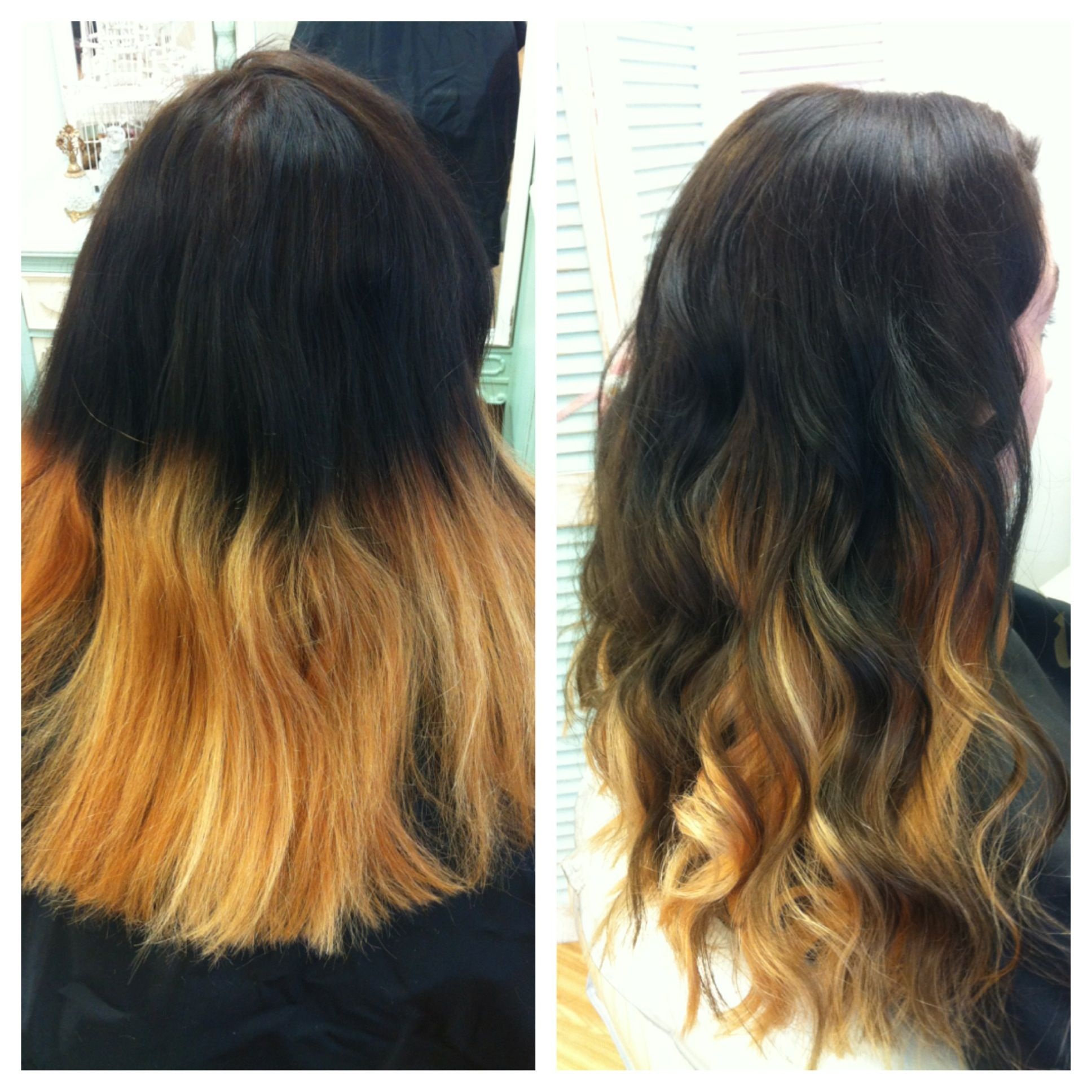 Fixed An Ombre Today Before And After Hair Color Hair Styles Hair Honey Golden Hair