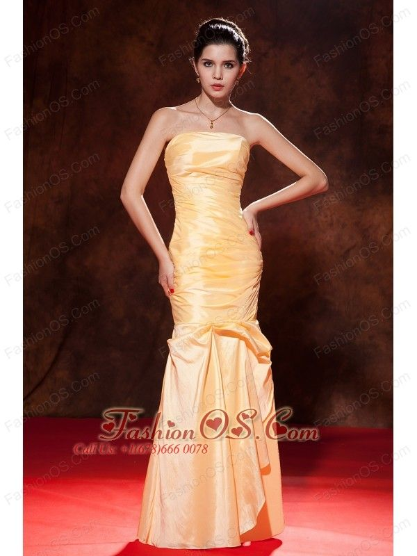 Cheap Gold Prom Dress Mermaid Strapless Floor Length Taffeta Ruch