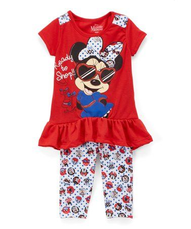 7c8036d84bc9 Take a look at this Minnie Mouse Red Ruffle Tee   White Polka Dot Leggings  - Girls today!