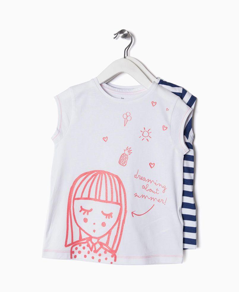11dd89bb30fb Μπλούζες Κοντομάνικες Σετ 2τεμ. Λευκό - Ριγέ  μπλούζες  κοντομάνικες  σετ   κορίτσι  παιδικές μπλούζες  poulain