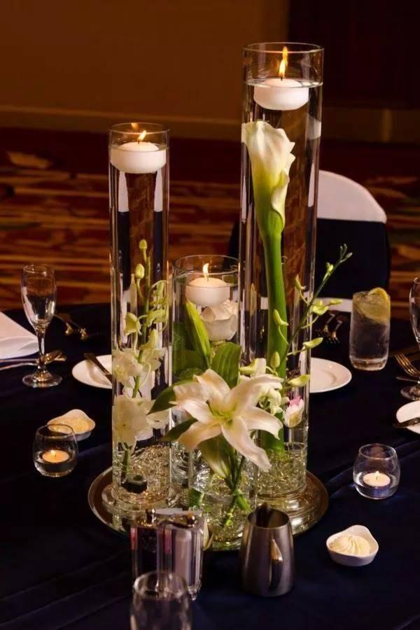 Centros de mesa a partir de velas ¡Nos encantan! Small bathroom - arreglos de mesa