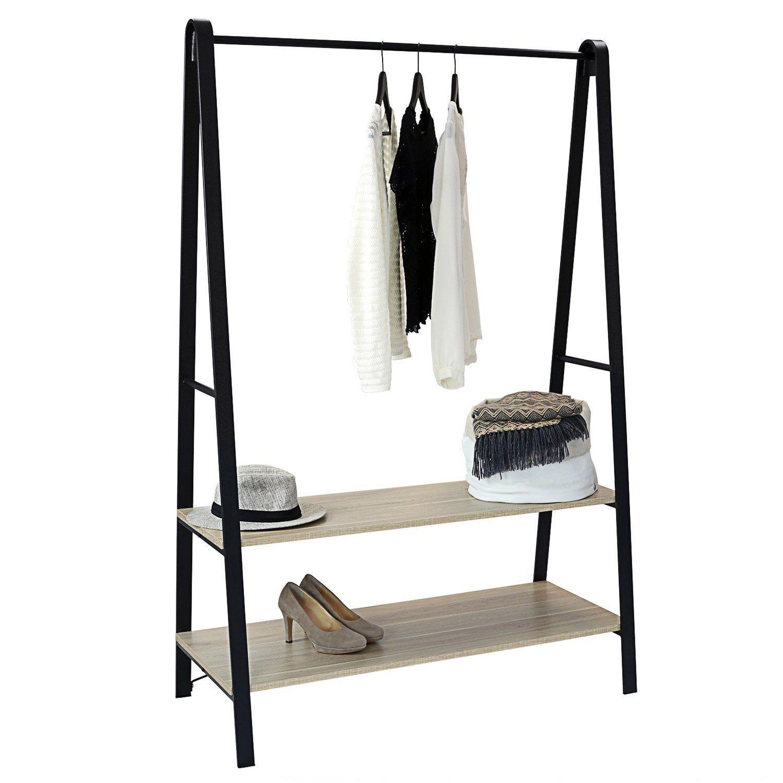 Portant 2 Etageres Et 1 Barre De Penderie Noir Bois Metal H 170xl 110 Xp 50cm In 2020 Home Bedroom Shelves Bedroom Decor