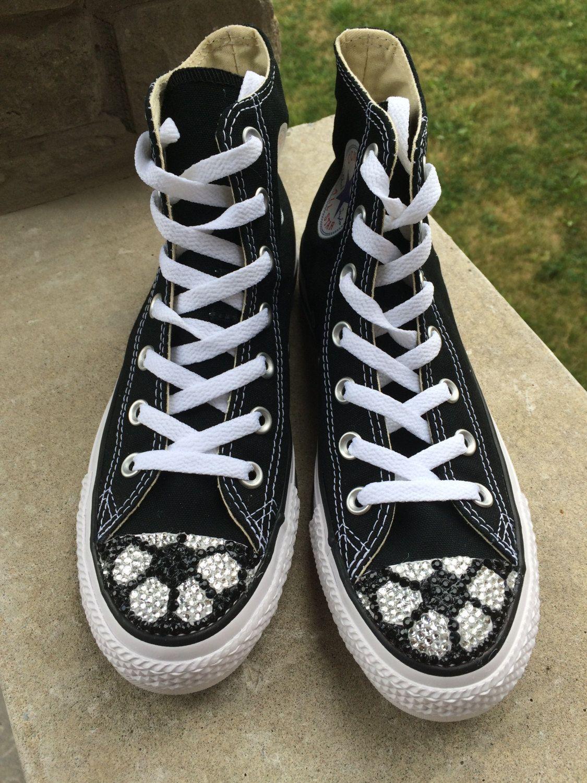 3c60e75fe096 Women s Soccer High Top Converse Blinged Shoes. Soccer Converse Blinged  Shoes