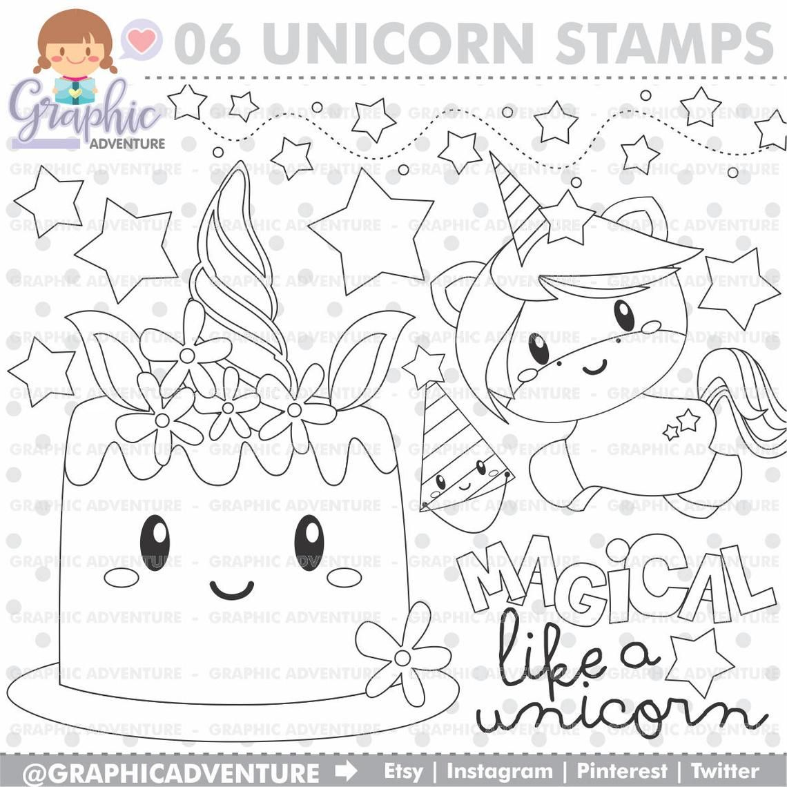 Unicorn Stamp Birthday Stamp Commercial Use Digi Stamp Etsy In 2021 Unicorn Coloring Pages Digital Stamps Coloring Pages