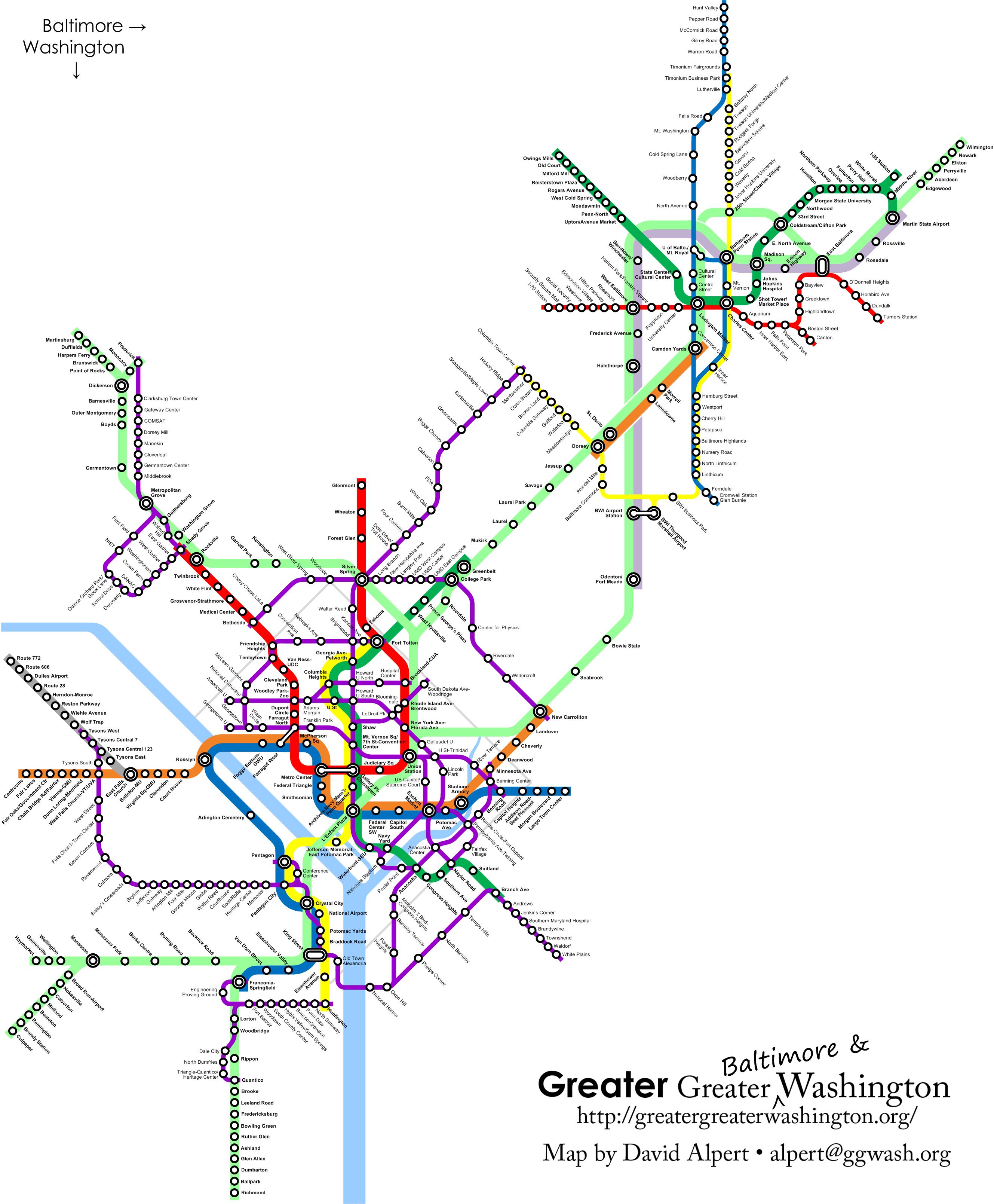 Subway Map Of Baltimore.Future Dc Baltimore Transit Map Maps Washington Map Map