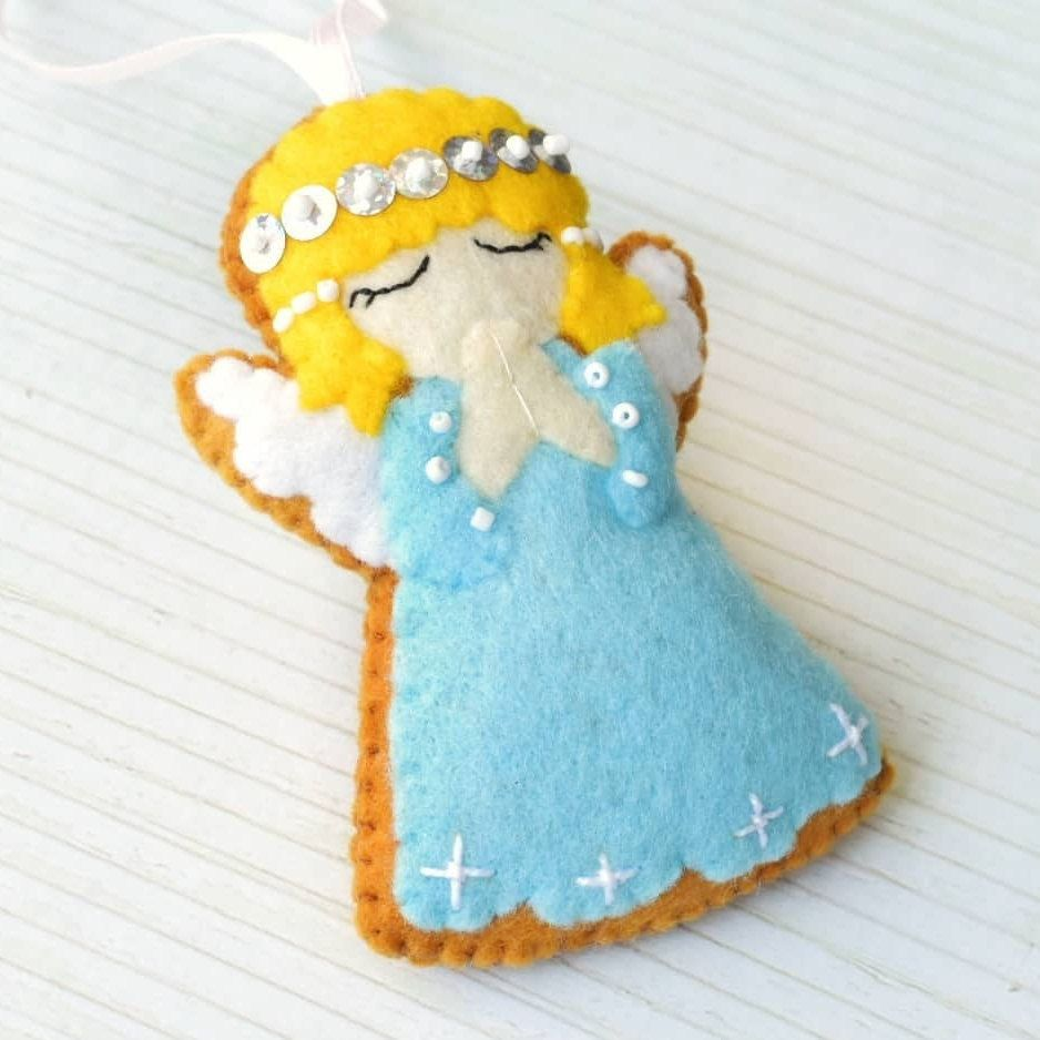 Felt Christmas Ornament Angel Felt Angel Gingerbread Angel Etsy In 2021 Felt Christmas Ornaments Felt Christmas Felt Angel