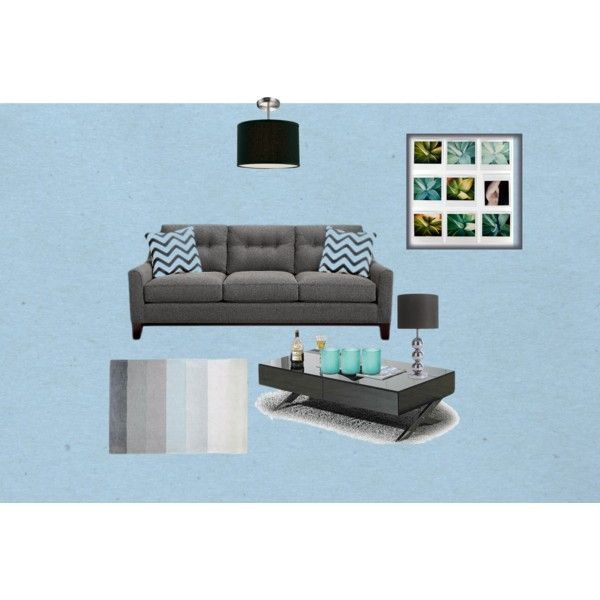 "Gray And Teal Living Room By Jurzychic On Polyvore: ""Modern Blue & Gray Living Room"" By Aimee-engebretson On"