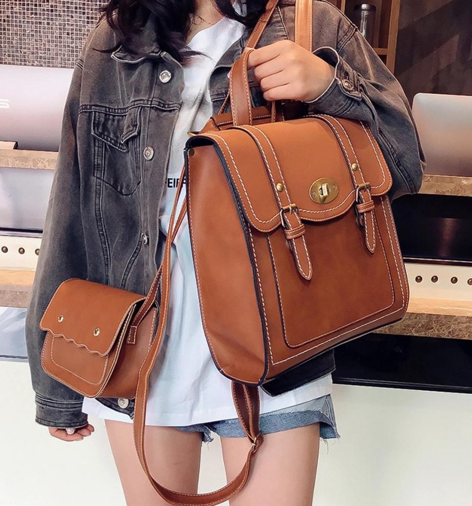 Fantastick Womens Fashion Leather Zipper Handbag Solid Shoulder Messenger Bag Purse Set