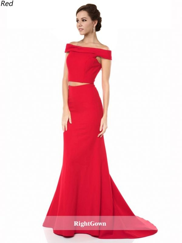 Spring Trends Mermaid Long Elastic Satin Sleeveless Red Prom Dresses ...