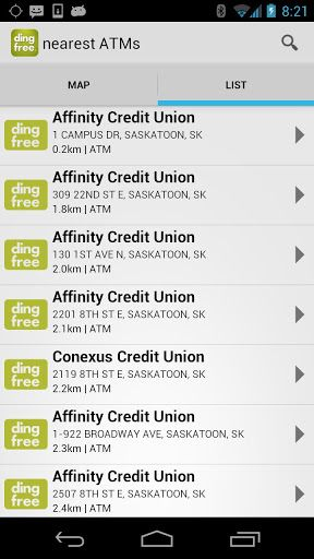 ***No more ATM surcharges for Credit Union Members****<br>The ding free® locator app makes it easy for credit union members to find thousands of surcharge-free ATMs from BC to Newfoundland.<p>What it means to be ding free<br>Belonging to a national ATM network means you can bank ding free from sea to sea, with access to a national network of surcharge-free ATMs – a network bigger than most banks. Wherever you are, a quick tap of our app is all you need to find a ding free ATM near you…