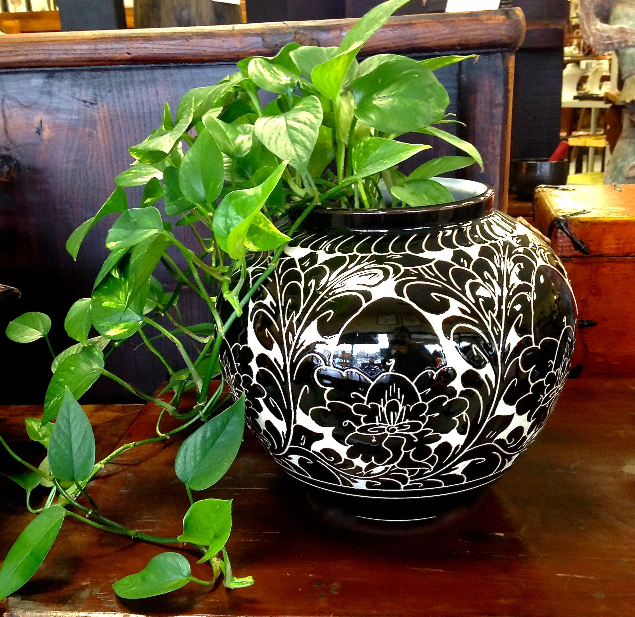 Etched Chinese Porcelain Planter