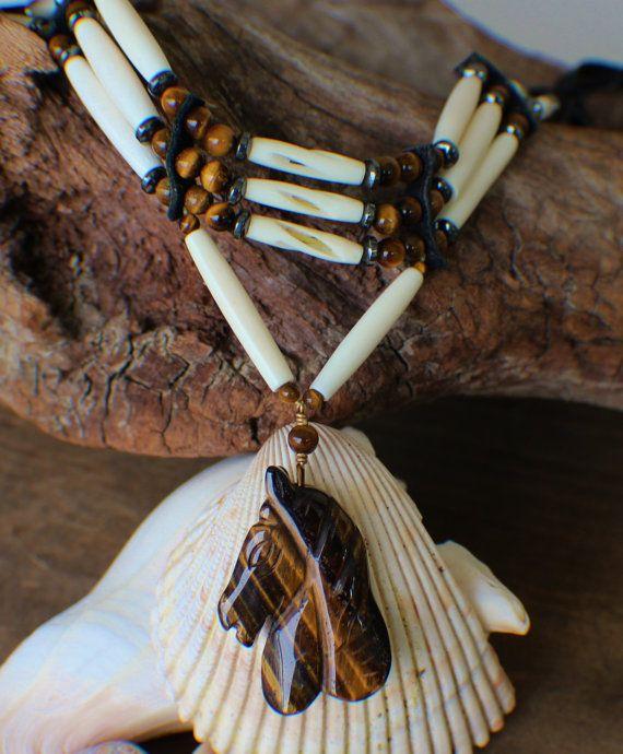 Native American Choker w// Tigers Eye Cherokee made William Lattie Cert of Auth