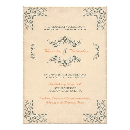 Antique Victorian Swirls Vintage Decor Wedding Invitation - Customizable Wedding Suite. Personalize it online and buy it printed. #Antique #Victorian #Swirls #Vintage #Decor #Wedding #Invitation #Customizable #Printable #DIY