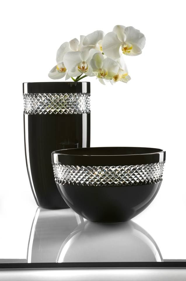 John Rocha Black Cut Crystal Vase And Bowl Source Waterford S
