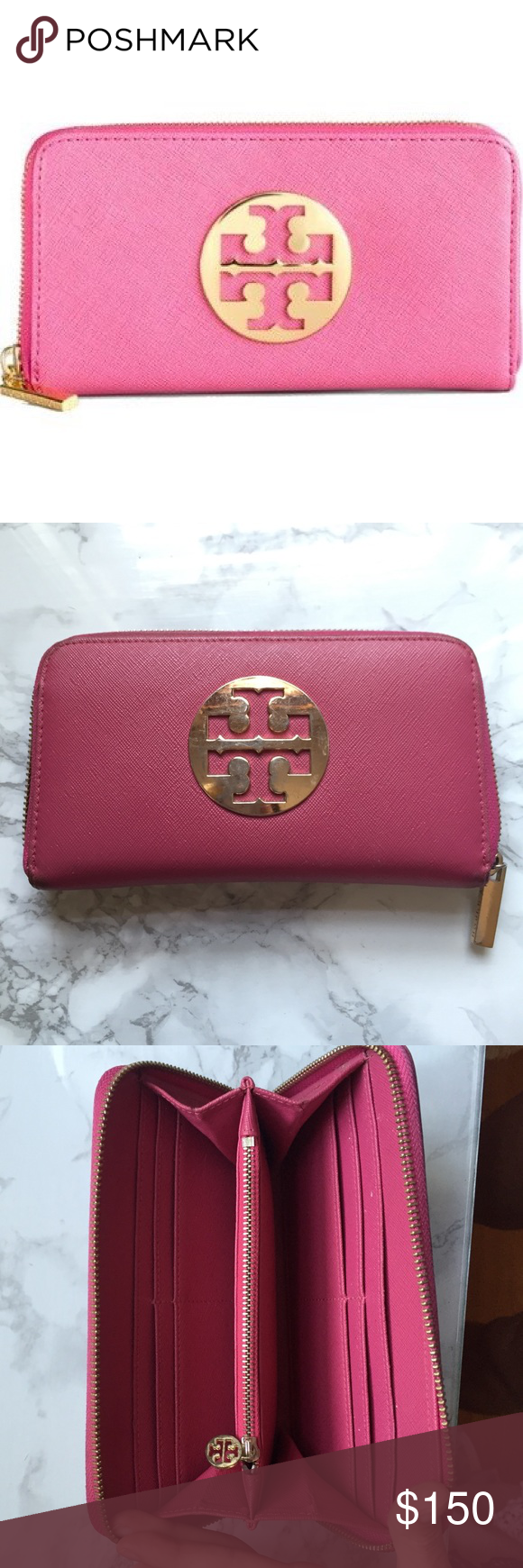 ‼️SALE-Tory Burch Continental Wallet *PLEASE READ BEFORE ASKING QUESTIONS* Inside is in very good condition however, on the outside there are scratches & wear on the logo as shown in pictures as well as some discoloration on the corners & zipper.  Authentic but bought online from another seller so no proof of authenticity! No trades 💕 Tory Burch Bags Wallets
