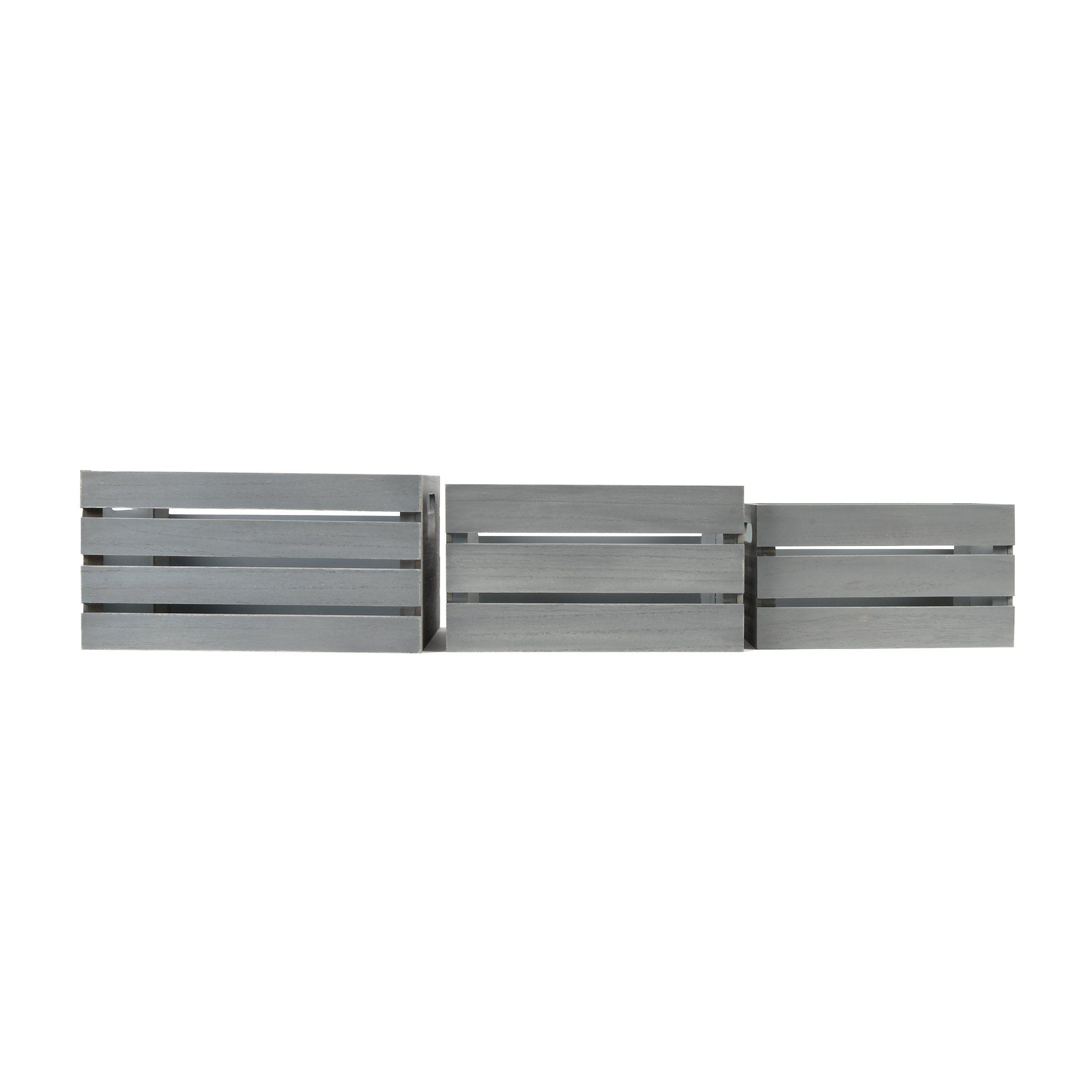 Photo of Distressed Grey 13.4'W x 9.5'H Nesting Storage Crates, Set of Three