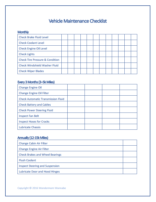 Free Family Printables Car Maintenance Maintenance Checklist Vehicle Maintenance Log