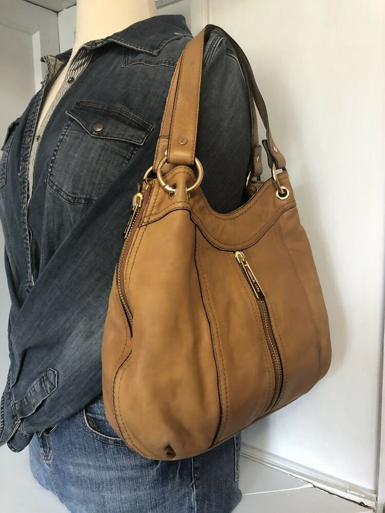 Details about MICHAEL KORS Brown Leather Gold Chain Strap B