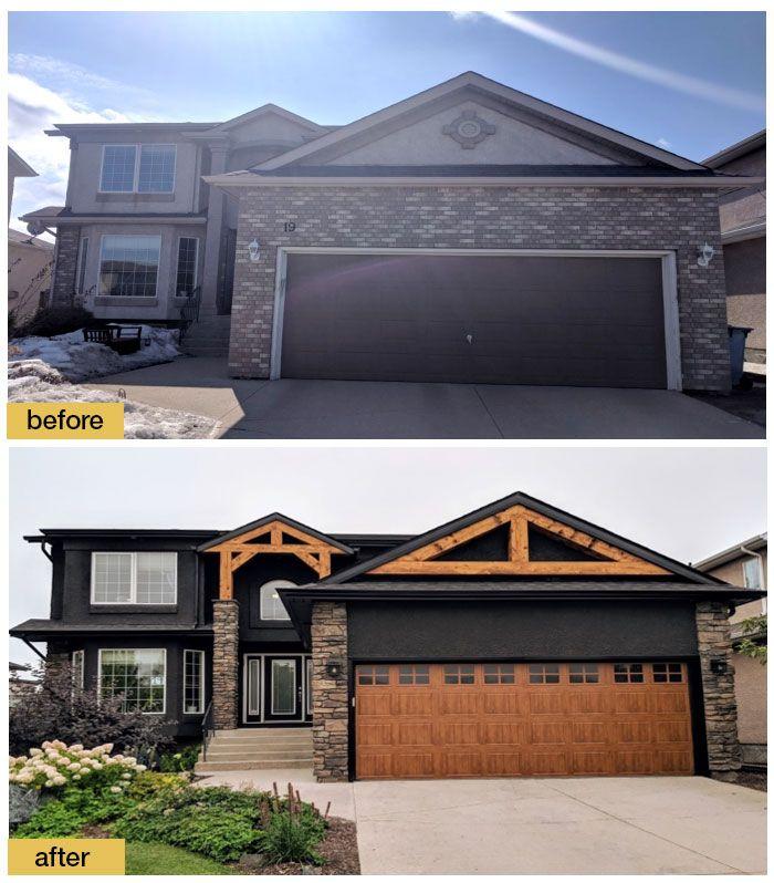September 2018 Garage Door Makeover Before After Home Exterior Makeover Exterior House Colors House Exterior