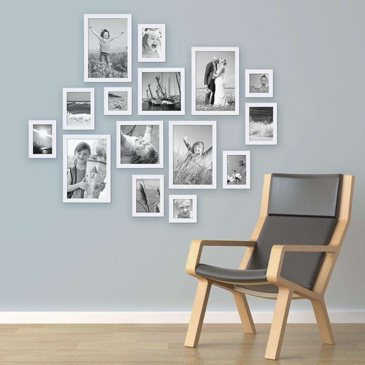 15er Set Bilderrahmen Weiss Modern Massivholz Größen 10x10, 10x15 ...