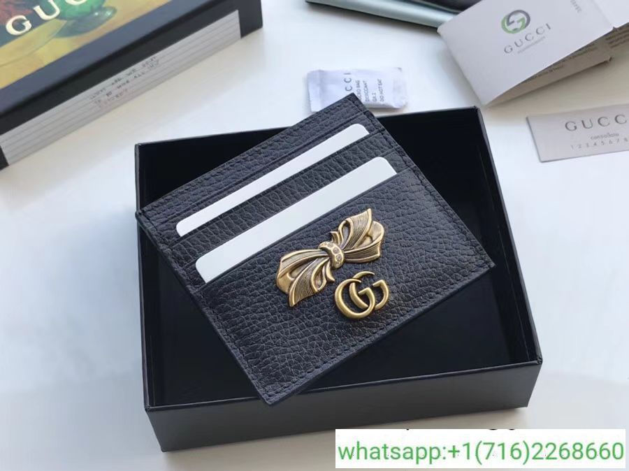 best service 809c5 bcab7 Gucci Leather Card Case With Bow 524305 | gucci | Leather card ...