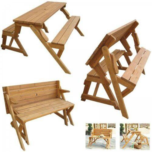 Mesa banca bancas pinterest mesa picnic madera for Silla que se hace escalera