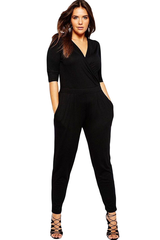 73ed733190e Black Plus Size Wrap V Neck Jumpsuit