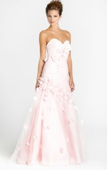 Pink A-Line/Princess Strapless,Sweetheart Dropped Long/Floor-length Sleeveless Flower(s) Taffeta,Tulle Prom Dresses Dress